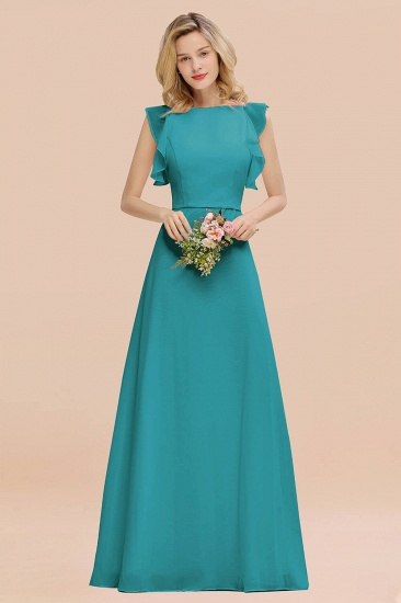 BMbridal Simple Jewel Draped Sleeves Blushing Pink Bridesmaid Dress Online_32