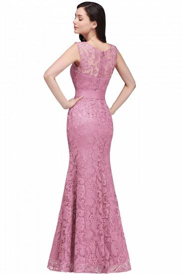 BMbridal Ribbon Sash Floor-length Sleeveless Lace Mermaid Evening Dress_12
