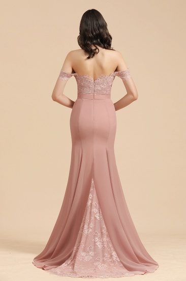 BMbridal Dusty Rose Off-the-Shoulder Lace Bridesmaid Dress_3