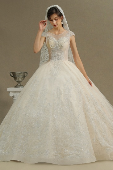 BMbridal Cap Sleeves Lace Ball Gown Wedding Scoop Neck_6