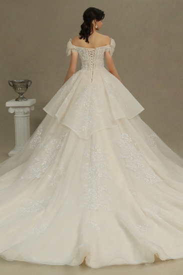 BMbridal Stunning Off-the-Shoulder Lace Brida Gown With Sequins Appliques_2