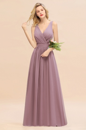 BMbridal Affordable V-Neck Ruffle Long Grape Chiffon Bridesmaid Dress with Bow_43