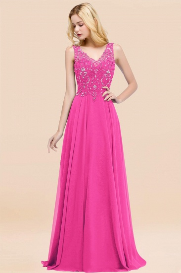 BMbridal Affordable Lace V-Neck Navy Bridesmaid Dresses With Appliques_9