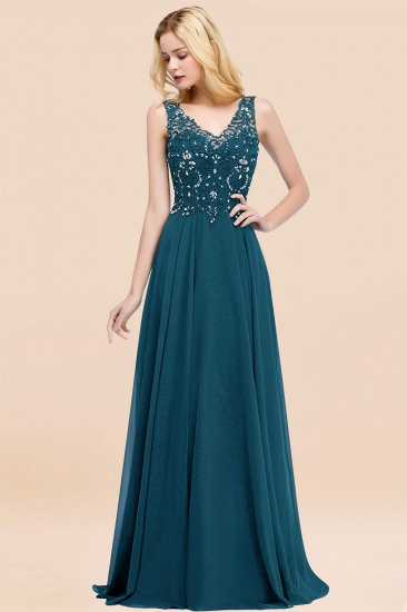 BMbridal Affordable Lace V-Neck Navy Bridesmaid Dresses With Appliques_27