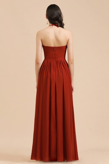 BMbridal Rust Halter Long Chiffon Bridesmaid Dress On Sale_3
