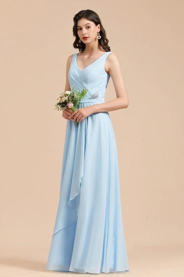 BMbridal Sky Blue Chiffon Long Bridesmaid Dress Ruched_6