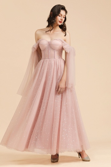 BMbridal V-neck Tulle Long Evening Pink Prom Dress Online_8