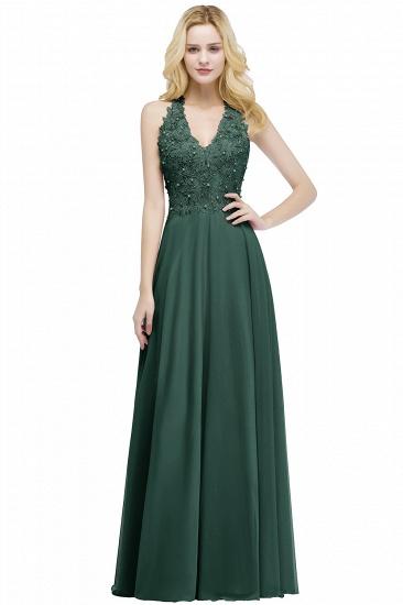 BMbridal A-line V-neck Sleeveless Long Appliques Chiffon Bridesmaid Dress_6
