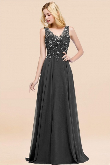 BMbridal Affordable Lace V-Neck Navy Bridesmaid Dresses With Appliques_46