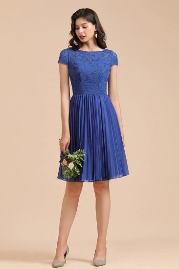 BMbridal Short Sleeve Royal Blue Lace Junior Bridesmaid Dress_4