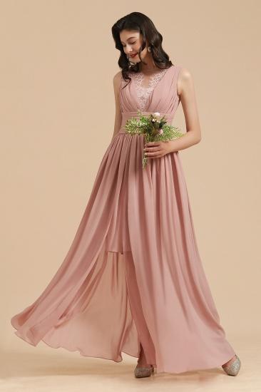 BMbridal Dusty Rose Chiffon V-Neck Bridesmaid Dress Long_8