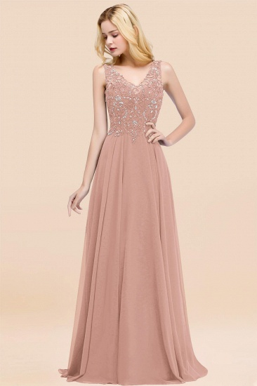 BMbridal Affordable Lace V-Neck Navy Bridesmaid Dresses With Appliques_6