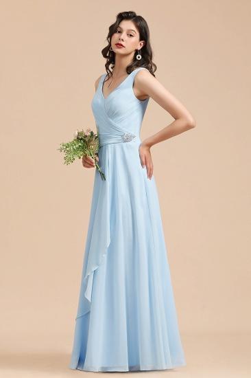 BMbridal Sky Blue Chiffon Long Bridesmaid Dress Ruched_5