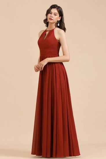 BMbridal Rust Halter Long Chiffon Bridesmaid Dress On Sale_4
