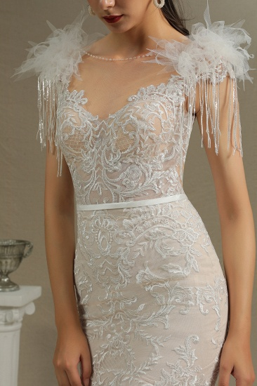BMbridal Scoop Lace Mermaid Wedding Dress With Feather_5