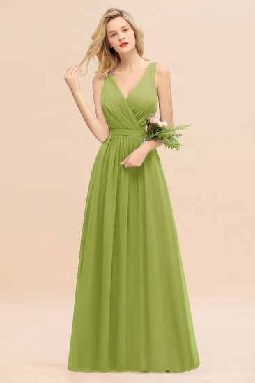 BMbridal Affordable V-Neck Ruffle Long Grape Chiffon Bridesmaid Dress with Bow_34