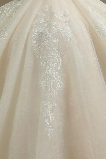 BMbridal Glamorous Short Sleeve Lace Ball Gown Wedding Dress_6
