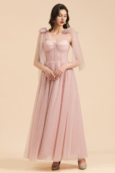 BMbridal V-neck Tulle Long Evening Pink Prom Dress Online_5