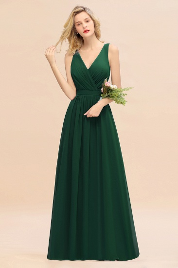 BMbridal Affordable V-Neck Ruffle Long Grape Chiffon Bridesmaid Dress with Bow_31