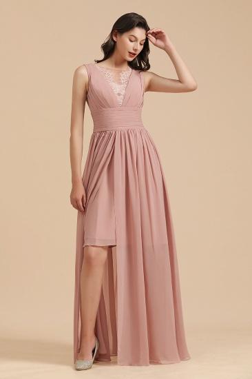 BMbridal Dusty Rose Chiffon V-Neck Bridesmaid Dress Long_5