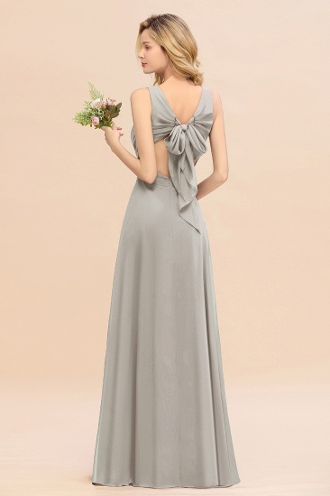 BMbridal Affordable V-Neck Ruffle Long Grape Chiffon Bridesmaid Dress with Bow_30