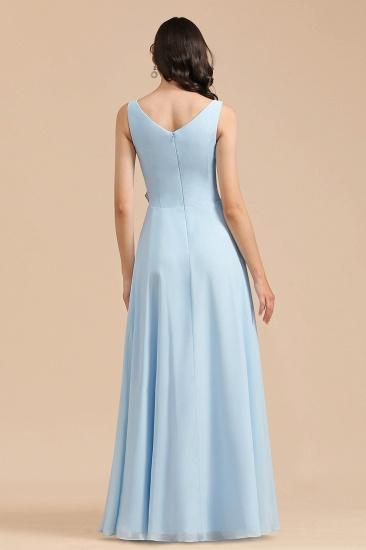 BMbridal Sky Blue Chiffon Long Bridesmaid Dress Ruched_3