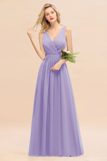 BMbridal Affordable V-Neck Ruffle Long Grape Chiffon Bridesmaid Dress with Bow_21