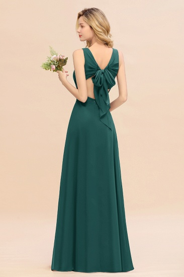 BMbridal Affordable V-Neck Ruffle Long Grape Chiffon Bridesmaid Dress with Bow_33