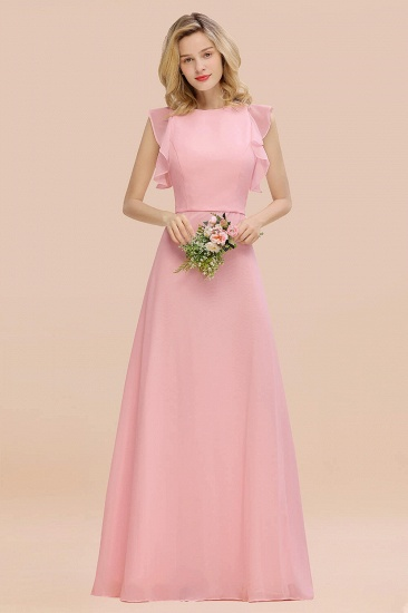 BMbridal Simple Jewel Draped Sleeves Blushing Pink Bridesmaid Dress Online_4