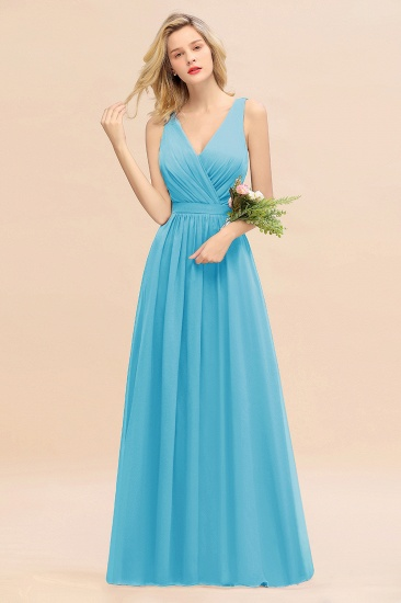 BMbridal Affordable V-Neck Ruffle Long Grape Chiffon Bridesmaid Dress with Bow_24