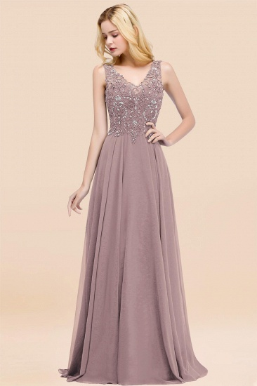 BMbridal Affordable Lace V-Neck Navy Bridesmaid Dresses With Appliques_37