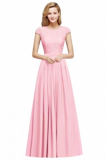 BMbridal A-line Jewel Short Sleeves Chiffon Lace Bridesmaid Dress_2