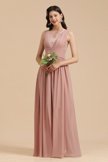 BMbridal Dusty Rose Chiffon V-Neck Bridesmaid Dress Long