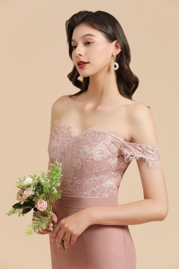 BMbridal Dusty Rose Off-the-Shoulder Lace Bridesmaid Dress_8