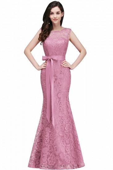 BMbridal Ribbon Sash Floor-length Sleeveless Lace Mermaid Evening Dress_1