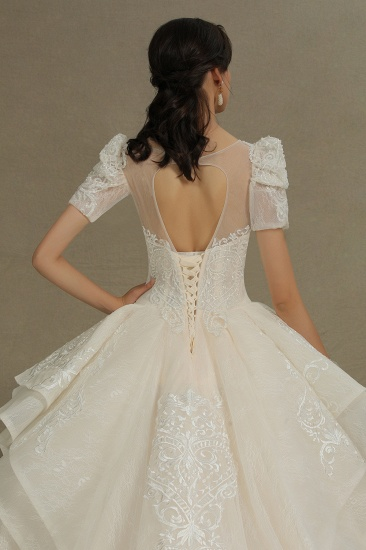 BMbridal Glamorous Short Sleeve Lace Ball Gown Wedding Dress_9