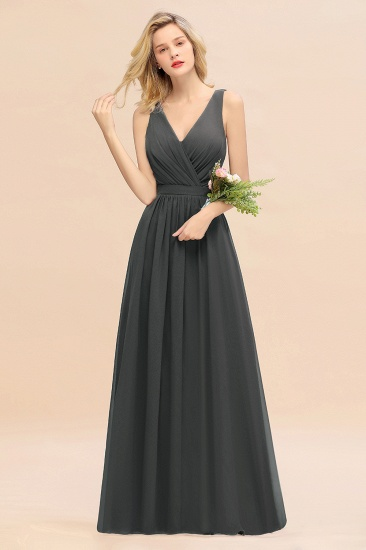 BMbridal Affordable V-Neck Ruffle Long Grape Chiffon Bridesmaid Dress with Bow_46