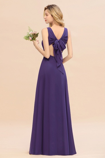 BMbridal Affordable V-Neck Ruffle Long Grape Chiffon Bridesmaid Dress with Bow_19