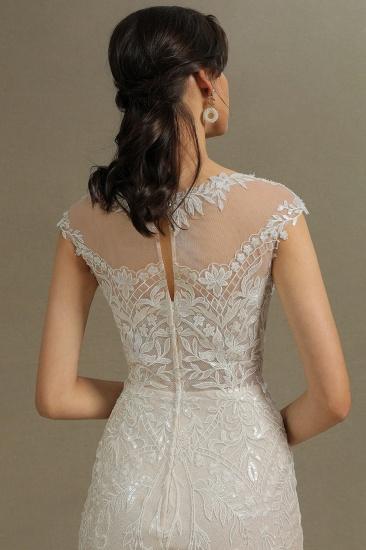 BMbridal Cap Sleeves Lace Mermaid Long Wedding Dresses_8
