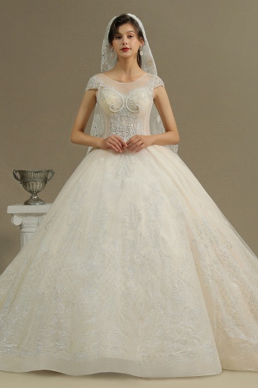 BMbridal Cap Sleeves Lace Ball Gown Wedding Scoop Neck