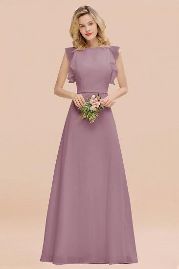 BMbridal Simple Jewel Draped Sleeves Blushing Pink Bridesmaid Dress Online_43