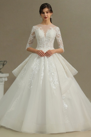 BMbridal Long Sleeves Lace Wedding Dress Luxury Online_1