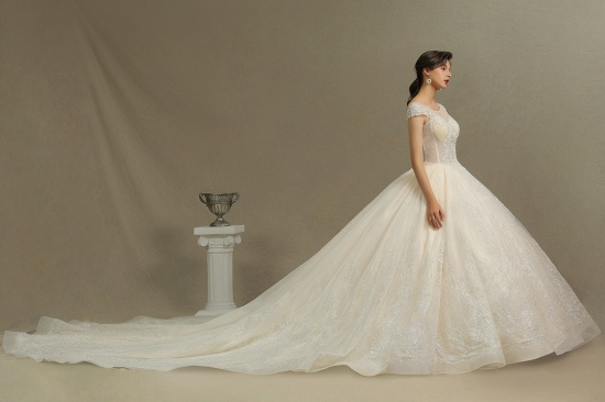BMbridal Cap Sleeves Lace Ball Gown Wedding Scoop Neck_7