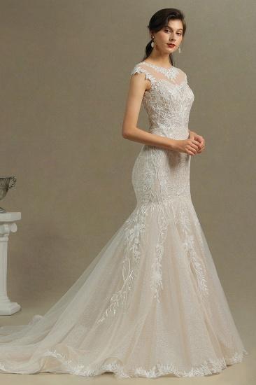 BMbridal Cap Sleeves Lace Mermaid Long Wedding Dresses_6