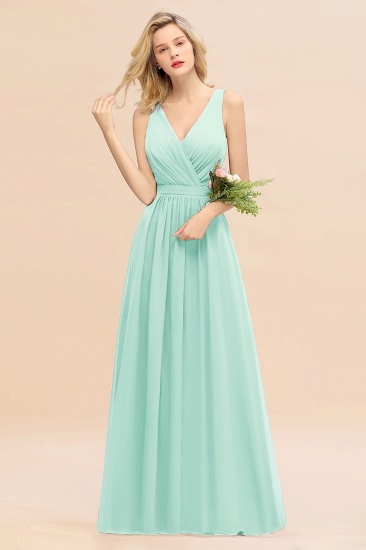 BMbridal Affordable V-Neck Ruffle Long Grape Chiffon Bridesmaid Dress with Bow_36