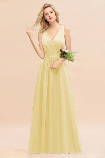 BMbridal Affordable V-Neck Ruffle Long Grape Chiffon Bridesmaid Dress with Bow_18