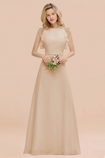 BMbridal Simple Jewel Draped Sleeves Blushing Pink Bridesmaid Dress Online_14