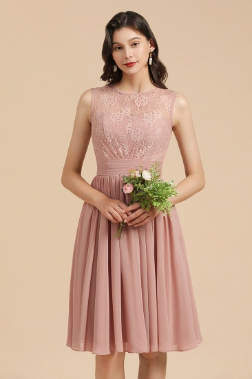 BMbridal Short Lace Dusty Rose Junior Bridesmaid Dress