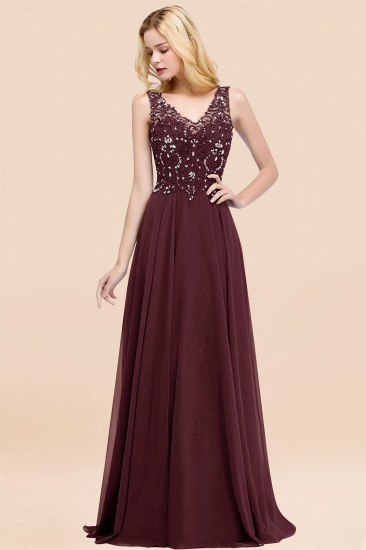BMbridal Affordable Lace V-Neck Navy Bridesmaid Dresses With Appliques_47