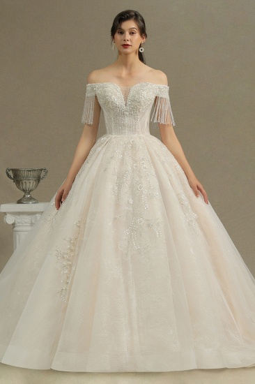 BMbridal Off-the-Shoulder Tassels Ball Gown Wedding Dress With Beads_2